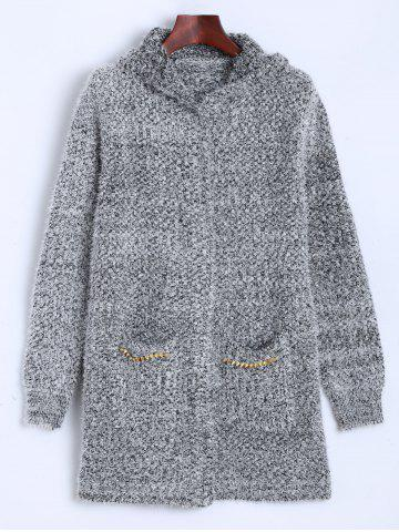 Affordable Hooded Studded Fuzzy Knit Cardigan