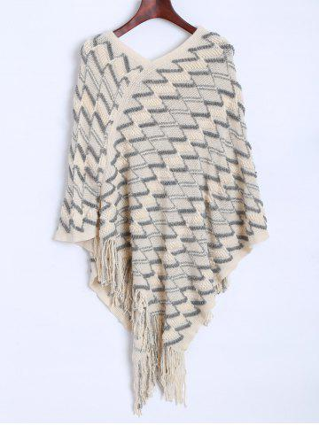 Hot Zig Zag Fringed Asymmetrical Poncho Sweater