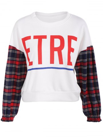 Unique Etre Graphic Plaid Insert Sweatshirt
