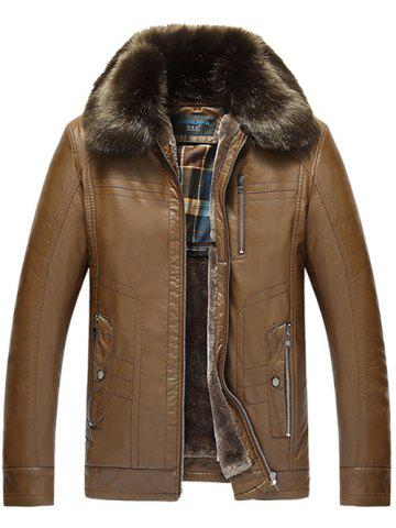 Detachable Faux Fur Collar Zippered PU Leather Flocking Jacket - Brown - L