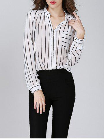 Affordable Chiffon Striped Beaded Blouse