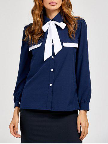 Unique Pussy Bow Tied Neck Color Block Blouse PURPLISH BLUE XL