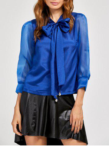 New Pussy Bow Organza Insert Blouse BLUE XL