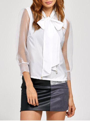 Pussy Bow Organza Insert Blouse - White - S