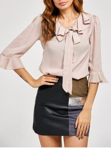 Discount Pussy Bow Bell Sleeves Ruffled Blouse