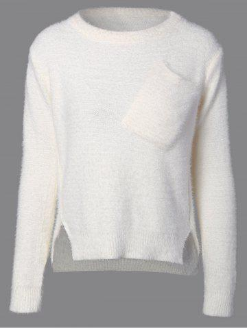 Buy Fuzzy High Low Sweater with Pocket WHITE ONE SIZE