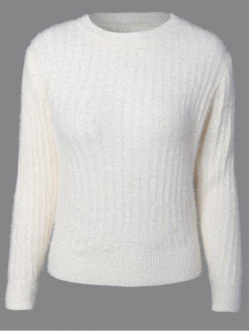 Affordable Knitted Crew Neck Fuzzy Pullover Sweater WHITE ONE SIZE
