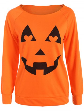 Cheap Halloween Pumpkin Graphic Orange Sweatshirt