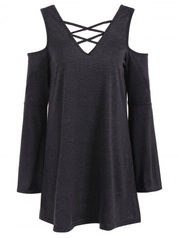 Best Flare Sleeve Cold Shoulder T-Shirt DEEP GRAY XL