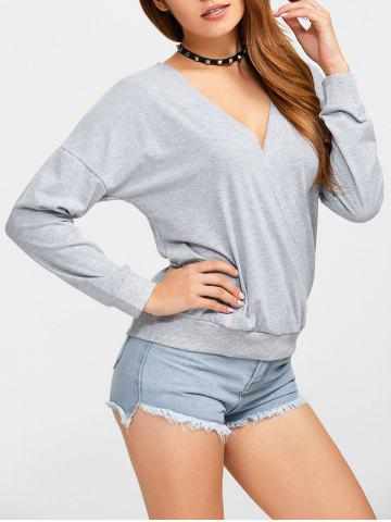 Cheap Plunge Neck Pullover Sweatshirt LIGHT GRAY L