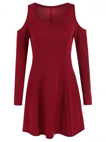 Fashion Long Sleeve Cold Shoulder Dress