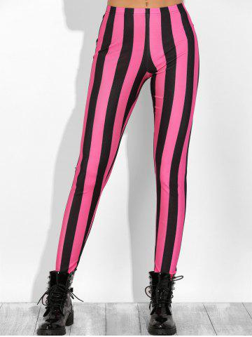 Color Block Stretchy Leggings - ROSE RED S