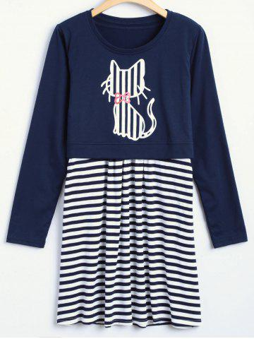 New Surplice Striped Dress with Kitten Print Top