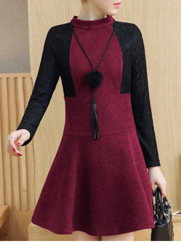 Lace Insert Woolen Swing Dress