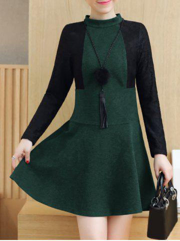 Lace Insert Woolen Swing Dress - Blackish Green - S