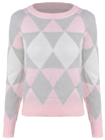 Buy Argyle Jacquard Knitted Sweater PINK ONE SIZE