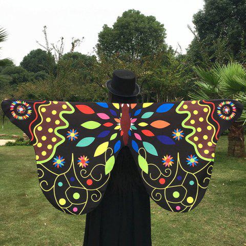 Hot Outdoor Ethnic Colorful Butterfly Wing Scarf BLACK