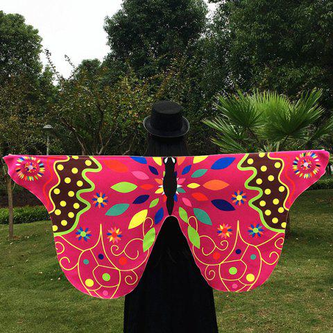 Best Outdoor Ethnic Colorful Butterfly Wing Scarf ROSE MADDER