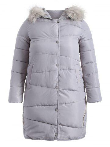 Shop Faux Fur Hooded Fuzzy Padded Coat
