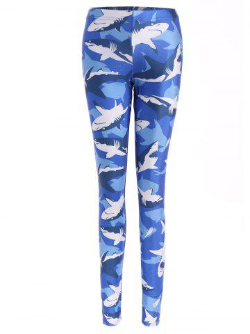 Latest Shark Print Bodycon Leggings -   Mobile