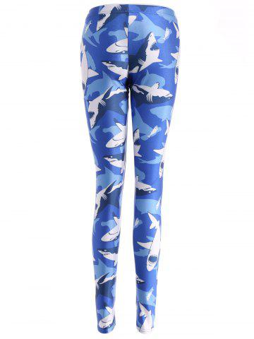 Outfits Shark Print Bodycon Leggings -   Mobile