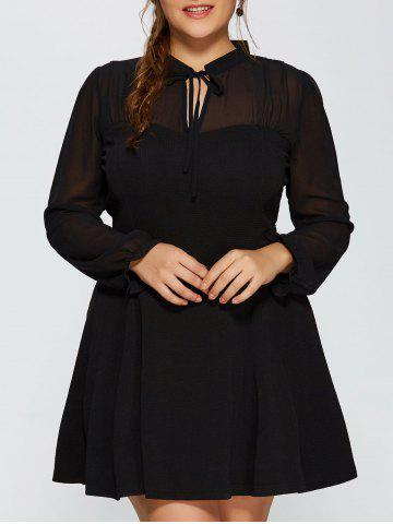 Fashion Plus Size Mesh Yarn Insert Long Sleeve Skater Dress BLACK 3XL