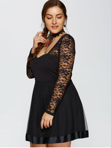 Online Lace Trim Insert Plus Size Long Sleeve Skater Dress - L BLACK Mobile