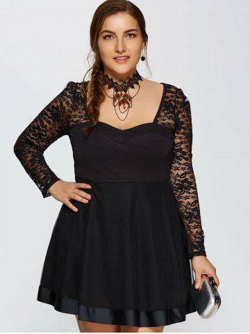 Hot Lace Trim Insert Plus Size Long Sleeve Skater Dress - L BLACK Mobile
