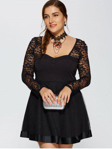 Buy Lace Trim Insert Plus Size Long Sleeve Skater Dress - L BLACK Mobile