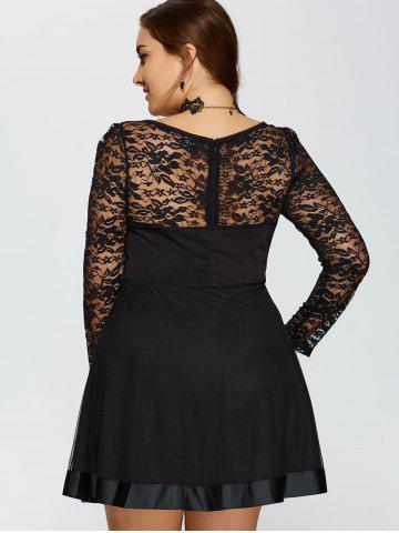 Latest Lace Trim Insert Plus Size Long Sleeve Skater Dress - L BLACK Mobile