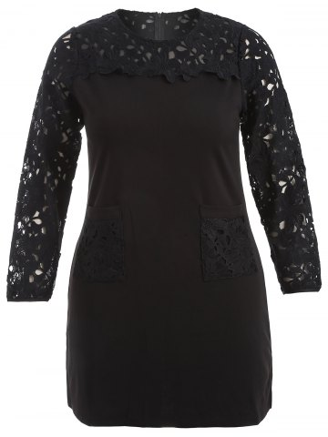 Chic Plus Size Lace Insert Dress With Pockets BLACK 2XL