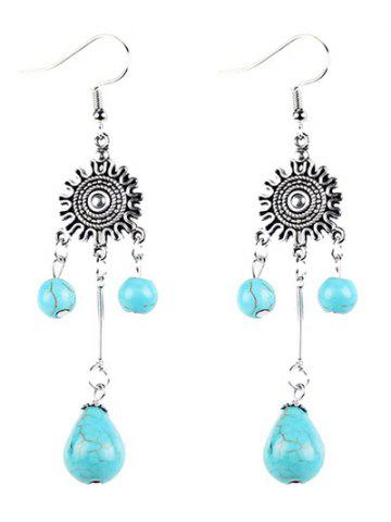 Outfit Bohemian Artificial Turquoise Chandelier Earrings