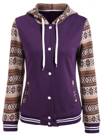 Buy Tribal Print Panel Button Up Hoodie PURPLE XL