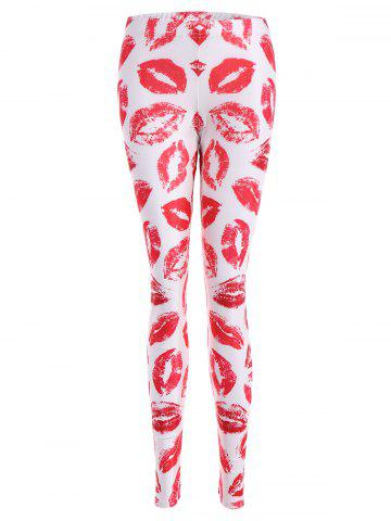 Outfit Lip Print Bodycon Leggings - M PINK Mobile