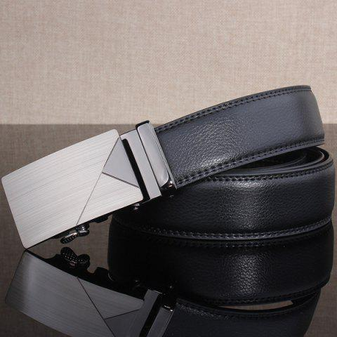 Cheap Polished Geometric Automatic Buckle Wide Belt - FROST  Mobile