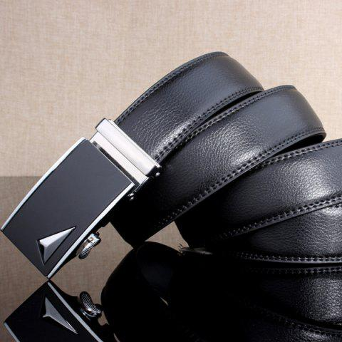 Discount Stylish 3D Triangle Automatic Buckle Wide Formal Belt - SILVER  Mobile
