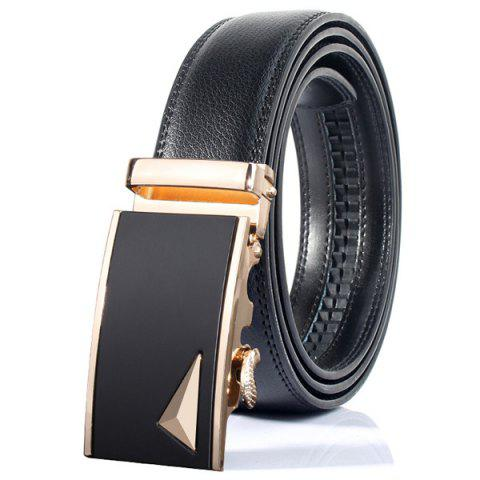 Best Stylish 3D Triangle Automatic Buckle Wide Formal Belt GOLDEN