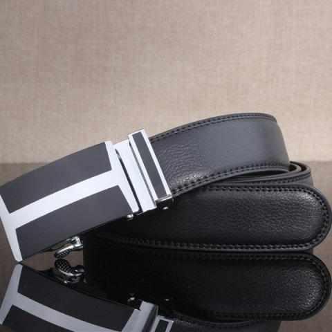 Outfits Simple H Shape Automatic Buckle Wide Belt - BLACK  Mobile