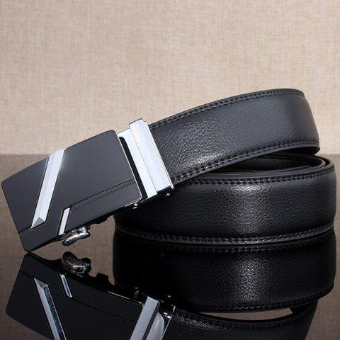 Store Simple Embellished Paralleled Line Automatic Buckle Wide Belt - SILVER  Mobile