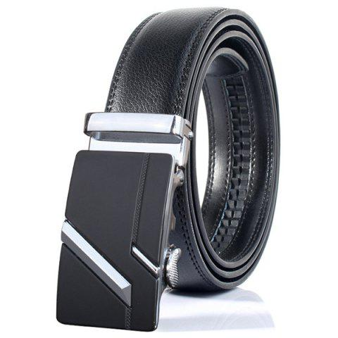 Simple Embellished Paralleled Line Automatic Buckle Wide Belt - Silver - 130cm