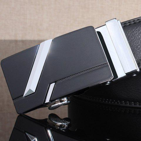 Buy Simple Embellished Paralleled Line Automatic Buckle Wide Belt - SILVER  Mobile