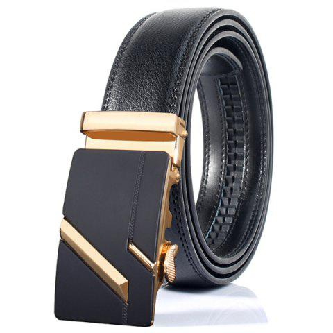 Store Simple Embellished Paralleled Line Automatic Buckle Wide Belt - GOLDEN  Mobile