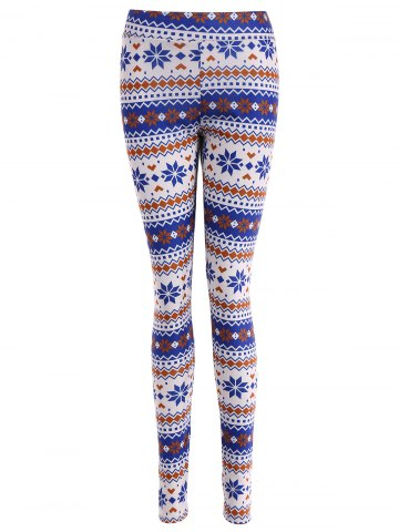 Discount Stretchy Ornate Print Christmas Leggings COLORMIX XL