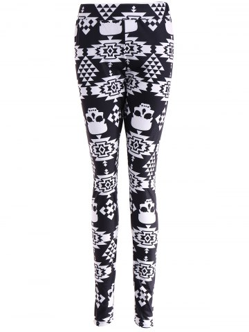 Buy Skull Print Stretchy Leggings BLACK XL