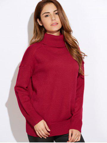 Hot Relaxed Turtleneck Sweater RED ONE SIZE