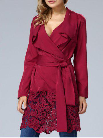 Best Lace Hem V Neck Wrap Dress WINE RED XL