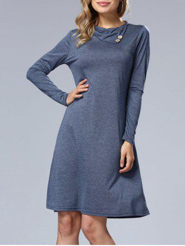Trendy Long Sleeve A Line Casual Dress BLUE XL