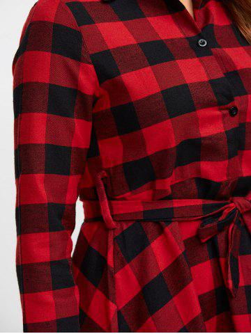Unique Buttoned Plaid Flannel Long Sleeve Shirt Dress - L RED Mobile