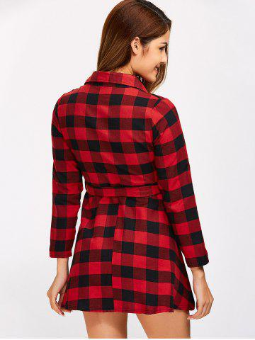 Buy Buttoned Plaid Flannel Long Sleeve Shirt Dress - L RED Mobile