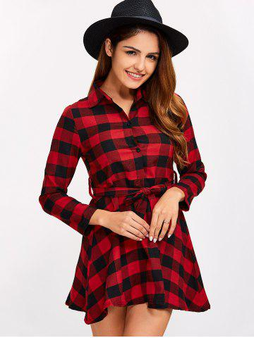 Fancy Buttoned Plaid Flannel Long Sleeve Shirt Dress - L RED Mobile